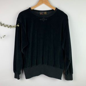 Liz Sport Vintage Black Velour Soft Sweatshirt